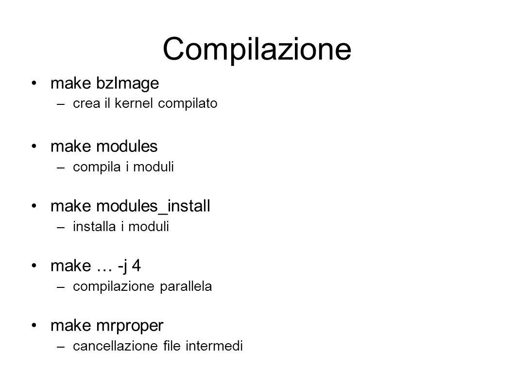 Compilazione make bzImage –crea il kernel compilato make modules –compila i moduli make modules_install –installa i moduli make … -j 4 –compilazione p