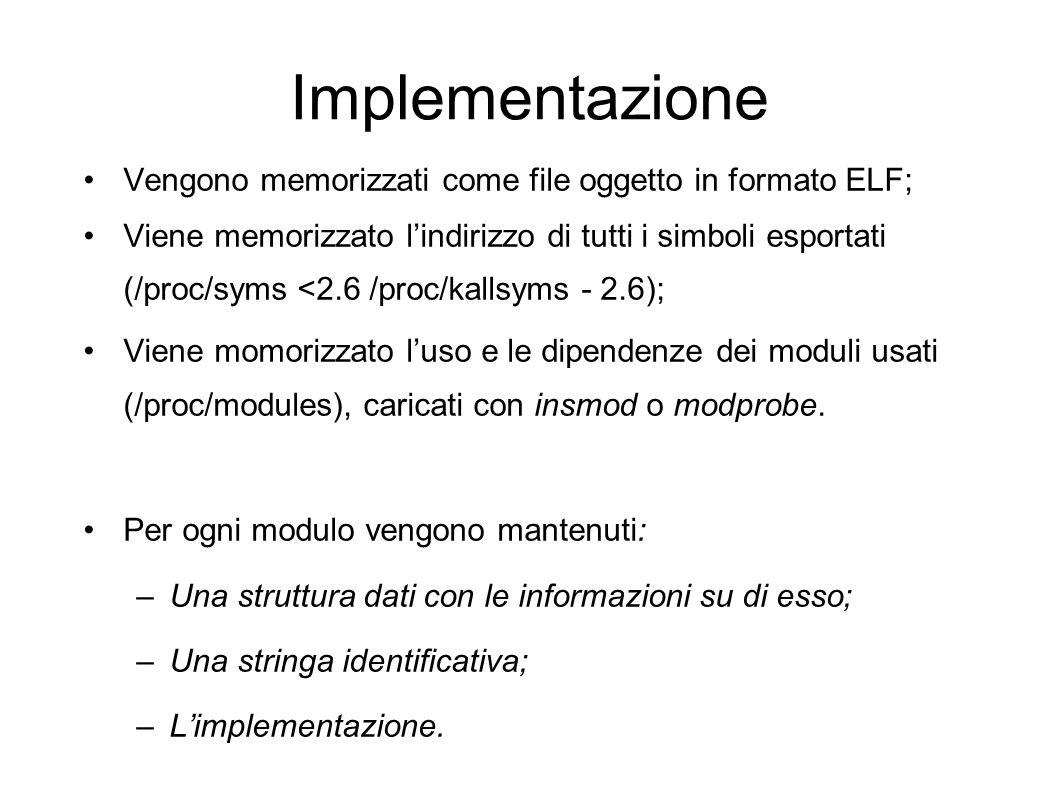 Implementazione Vengono memorizzati come file oggetto in formato ELF; Viene memorizzato lindirizzo di tutti i simboli esportati (/proc/syms <2.6 /proc/kallsyms - 2.6); Viene momorizzato luso e le dipendenze dei moduli usati (/proc/modules), caricati con insmod o modprobe.