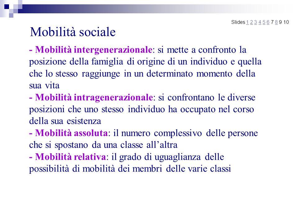 Mobilità sociale Slides 1 2 3 4 5 6 7 8 9 101234568 - Mobilità intergenerazionale: si mette a confronto la posizione della famiglia di origine di un i