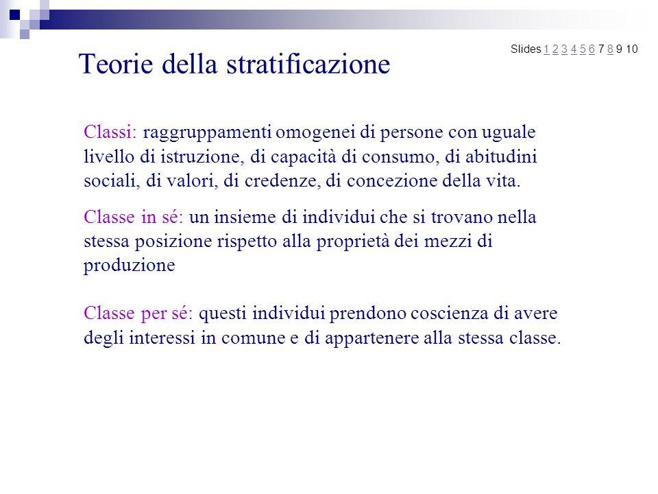 Teorie della stratificazione Slides 1 2 3 4 5 6 7 8 9 101234568 Classi: raggruppamenti omogenei di persone con uguale livello di istruzione, di capaci