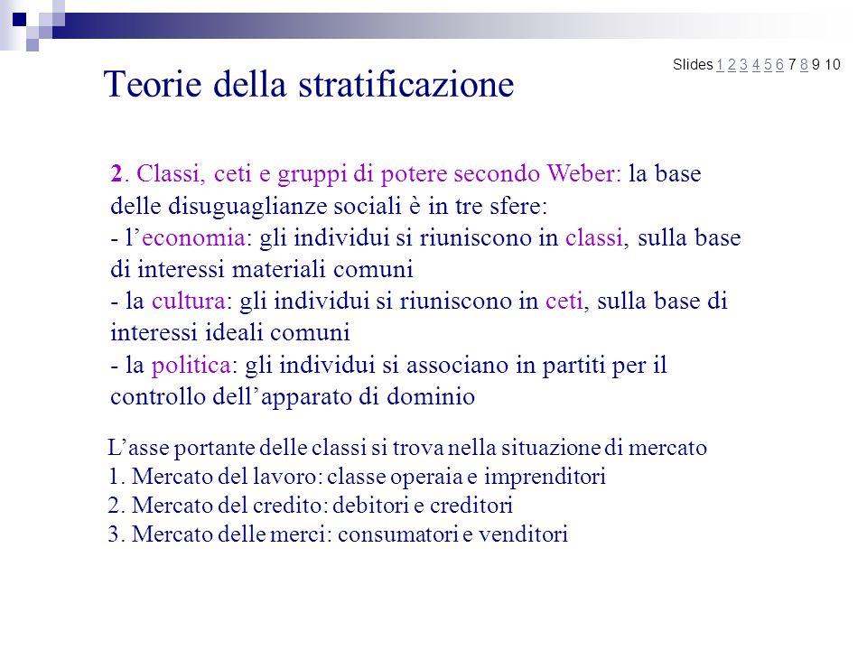 Teorie della stratificazione Slides 1 2 3 4 5 6 7 8 9 101234568 2. Classi, ceti e gruppi di potere secondo Weber: la base delle disuguaglianze sociali