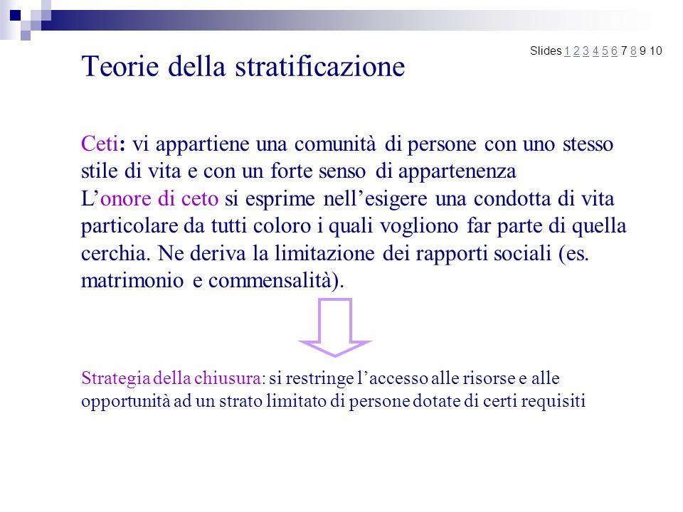 Teorie della stratificazione Slides 1 2 3 4 5 6 7 8 9 101234568 Ceti: vi appartiene una comunità di persone con uno stesso stile di vita e con un fort