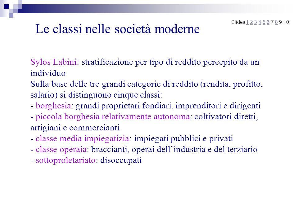 Le classi nelle società moderne Slides 1 2 3 4 5 6 7 8 9 101234568 Sylos Labini: stratificazione per tipo di reddito percepito da un individuo Sulla b