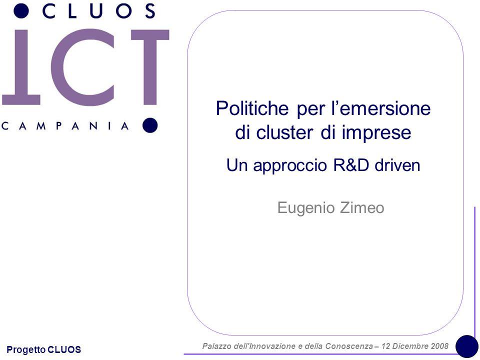 Progetto CLUOS Palazzo dell'Innovazione e della Conoscenza – 12 Dicembre 2008 Politiche per lemersione di cluster di imprese Un approccio R&D driven E
