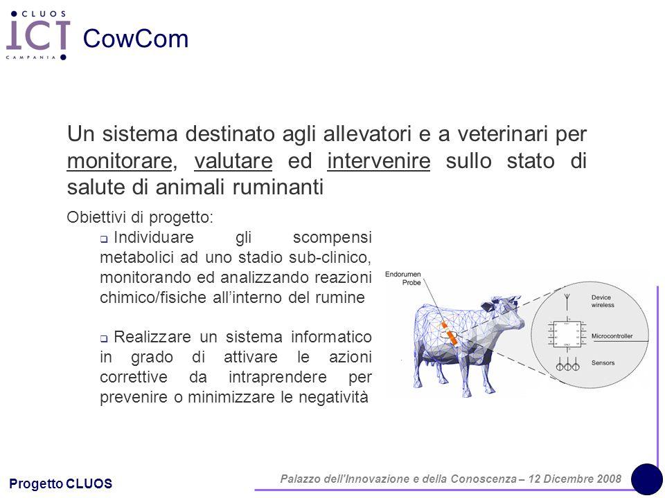 Progetto CLUOS Palazzo dell'Innovazione e della Conoscenza – 12 Dicembre 2008 CowCom Un sistema destinato agli allevatori e a veterinari per monitorar