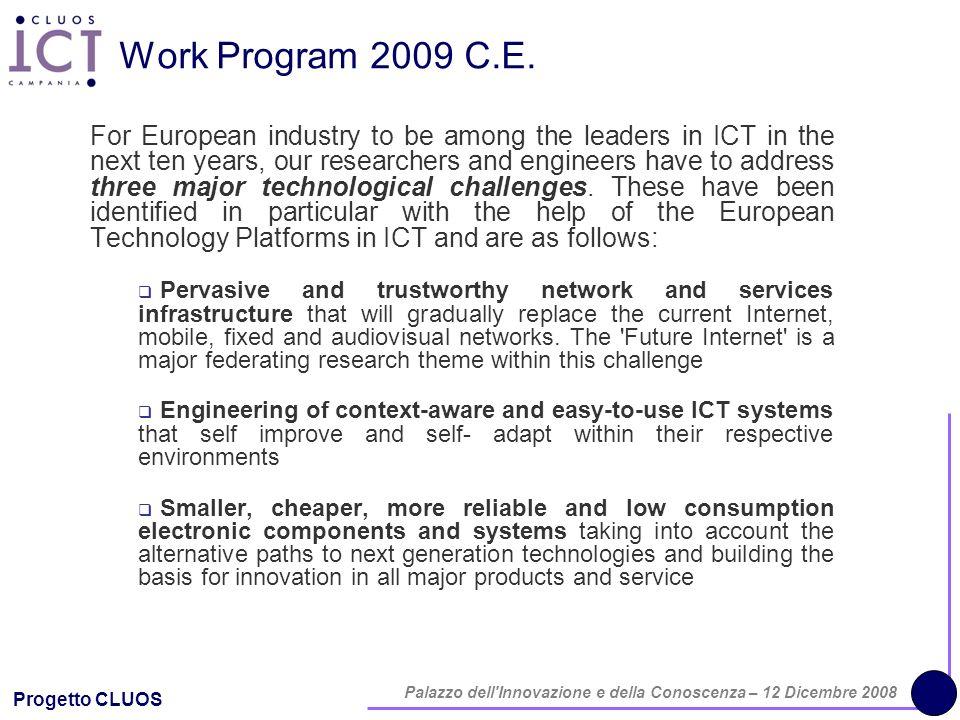 Progetto CLUOS Palazzo dell'Innovazione e della Conoscenza – 12 Dicembre 2008 Work Program 2009 C.E. For European industry to be among the leaders in