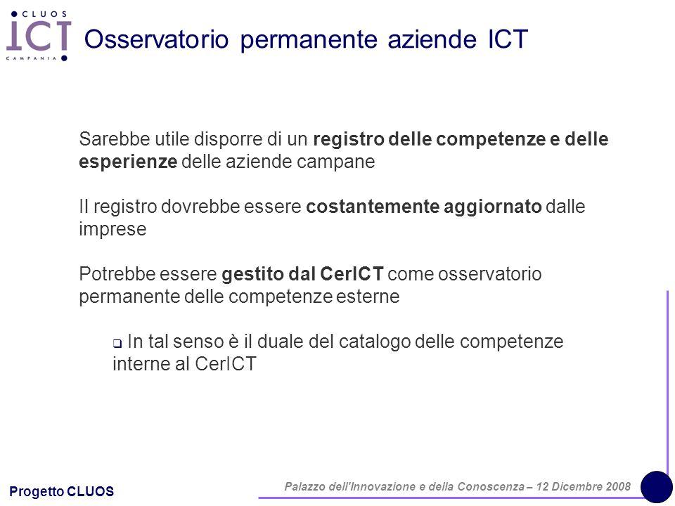 Progetto CLUOS Palazzo dell'Innovazione e della Conoscenza – 12 Dicembre 2008 Osservatorio permanente aziende ICT Sarebbe utile disporre di un registr