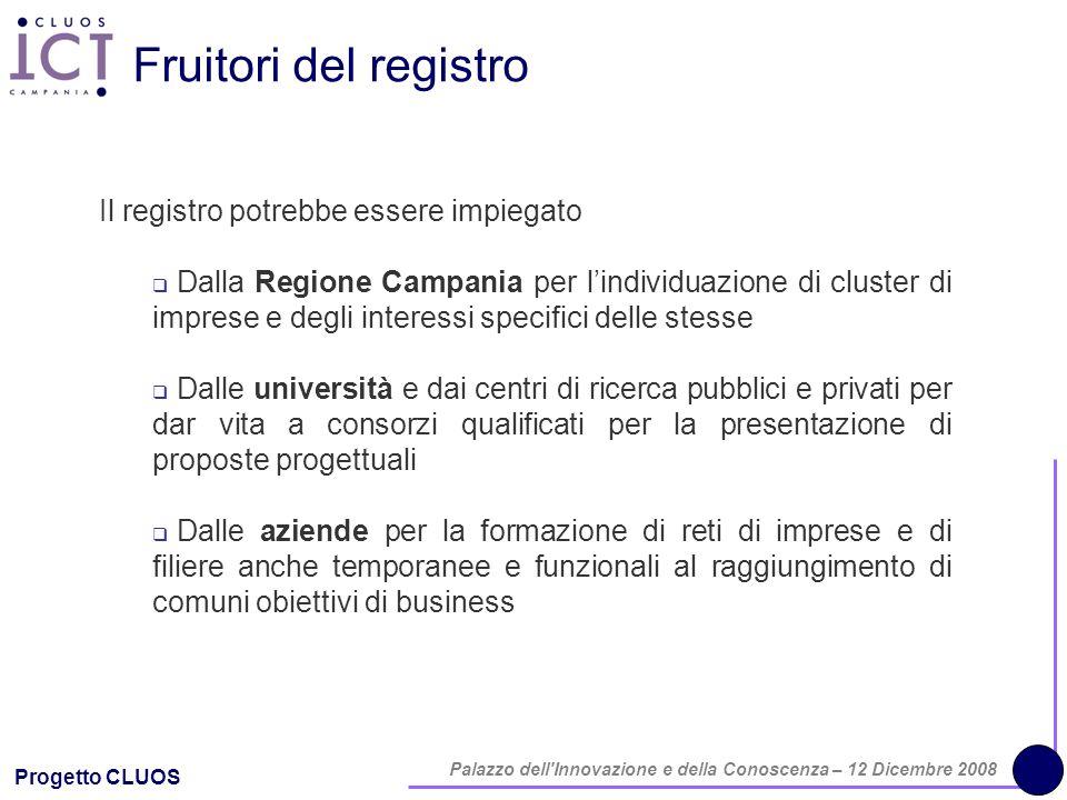 Progetto CLUOS Palazzo dell'Innovazione e della Conoscenza – 12 Dicembre 2008 Fruitori del registro Il registro potrebbe essere impiegato Dalla Region