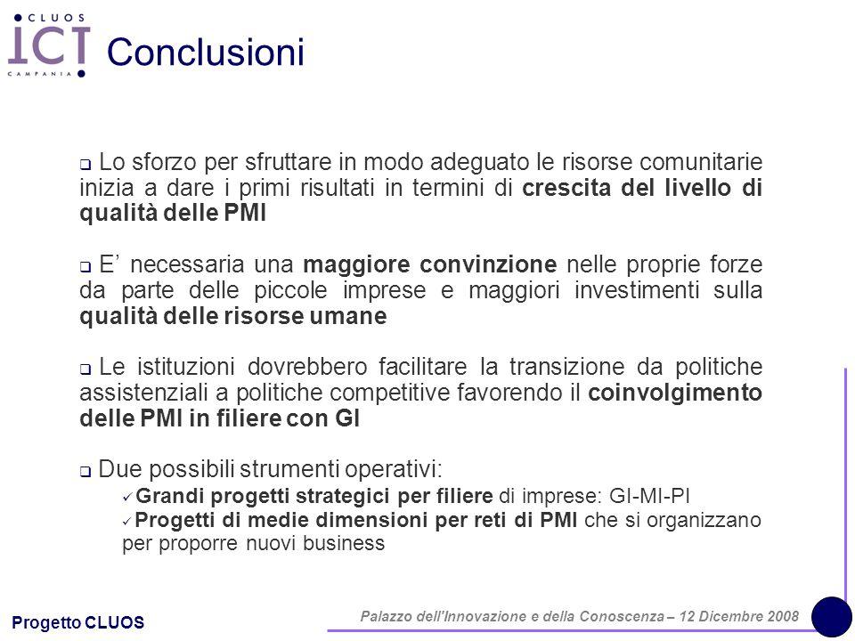 Progetto CLUOS Palazzo dell'Innovazione e della Conoscenza – 12 Dicembre 2008 Conclusioni Lo sforzo per sfruttare in modo adeguato le risorse comunita