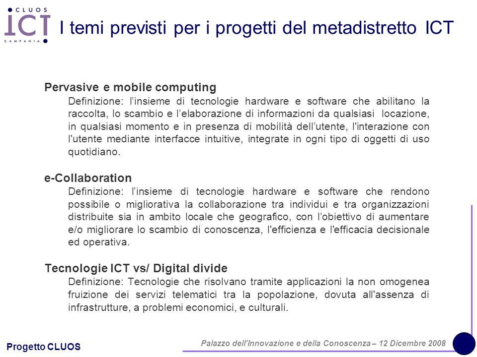 Progetto CLUOS Palazzo dell'Innovazione e della Conoscenza – 12 Dicembre 2008 I temi previsti per i progetti del metadistretto ICT Pervasive e mobile