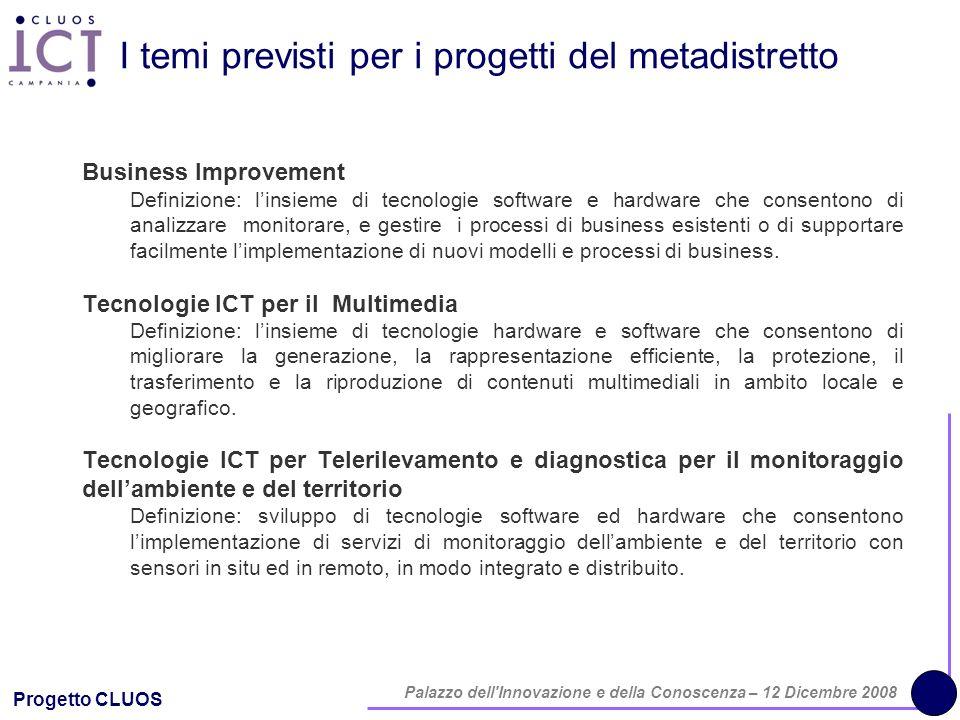 Progetto CLUOS Palazzo dell'Innovazione e della Conoscenza – 12 Dicembre 2008 I temi previsti per i progetti del metadistretto Business Improvement De