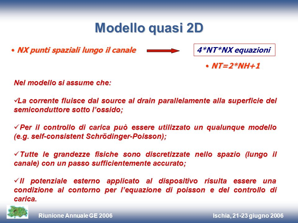 Ischia, 21-23 giugno 2006Riunione Annuale GE 2006 Modello quasi 2D NX punti spaziali lungo il canale NX punti spaziali lungo il canale 4*NT*NX equazio