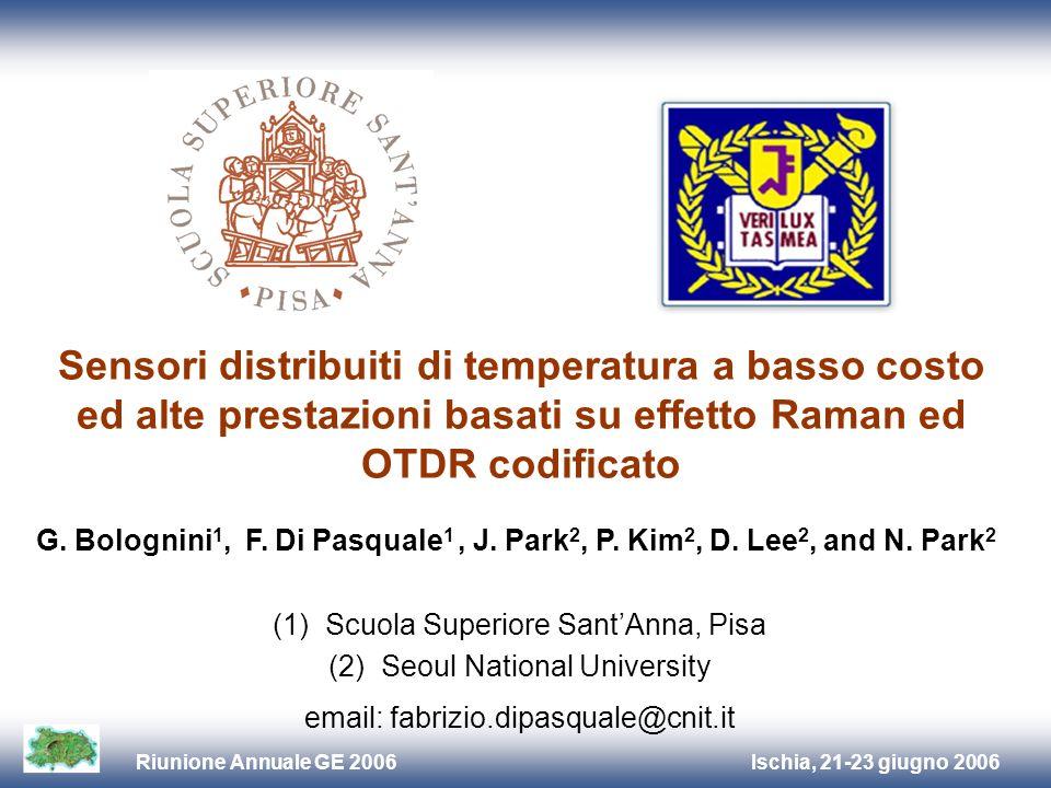 Ischia, 21-23 giugno 2006Riunione Annuale GE 2006 Introduzione Sviluppo di sensori di temperatura distribuiti basati su effetto Raman in fibra ottica ed OTDR codificato Sensori di Temperatura Distribuiti (DTS) basati su: Raman, Brillouin + OTDR Raman DTS: + T sensitive, - backscattered power, + P IN (~1 W) Brillouin DTS: - T sensitive, + backscattered power, + P IN, + complex detection OTDR codificato migliora SNR al ricevitore (+ resoluzione, + sensitivity, - potenza) Idea chiave : Utilizzare codoci Simplex in Raman DTS riduzione della P IN migliori prestazioni a costo inferiore (OTDR: Optical Time Domain Reflectometer)