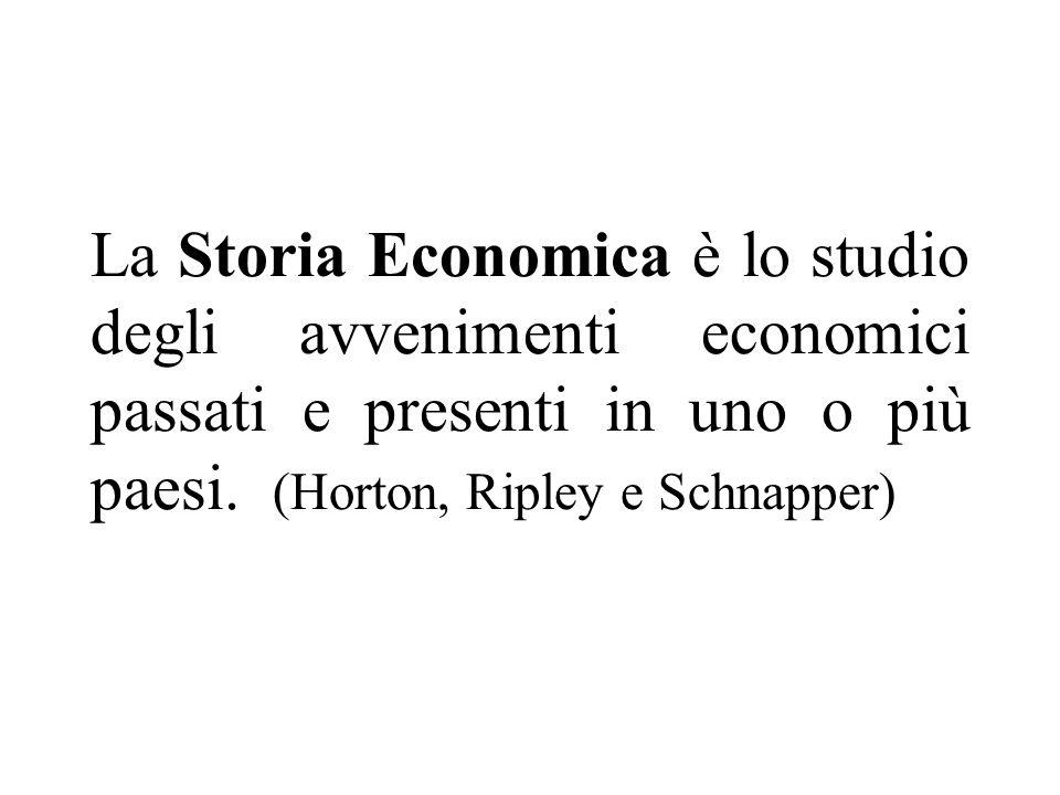 La Storia Economica è lo studio degli avvenimenti economici passati e presenti in uno o più paesi.