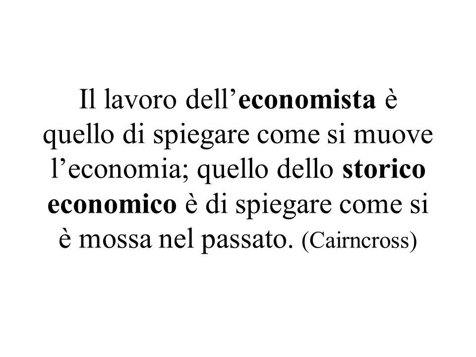Il lavoro delleconomista è quello di spiegare come si muove leconomia; quello dello storico economico è di spiegare come si è mossa nel passato.