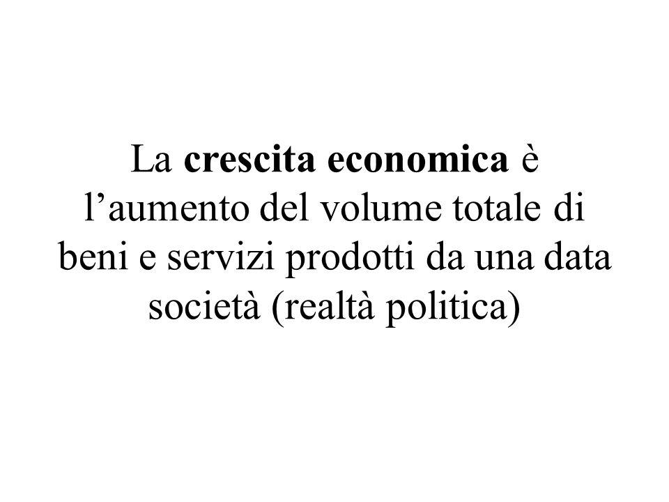 La crescita economica è laumento del volume totale di beni e servizi prodotti da una data società (realtà politica)