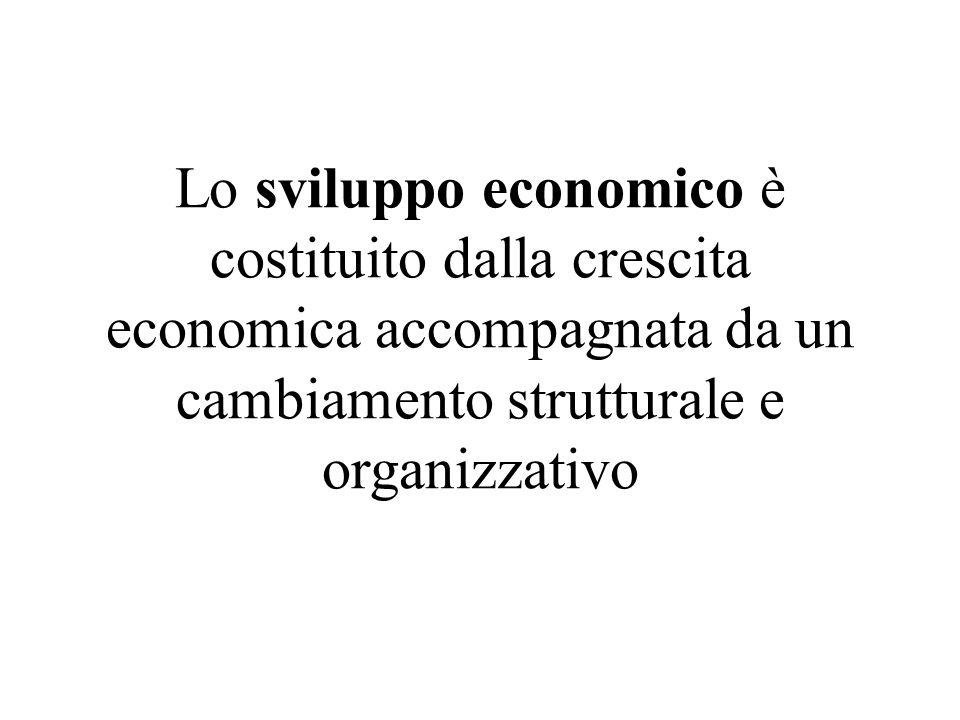 Lo sviluppo economico è costituito dalla crescita economica accompagnata da un cambiamento strutturale e organizzativo