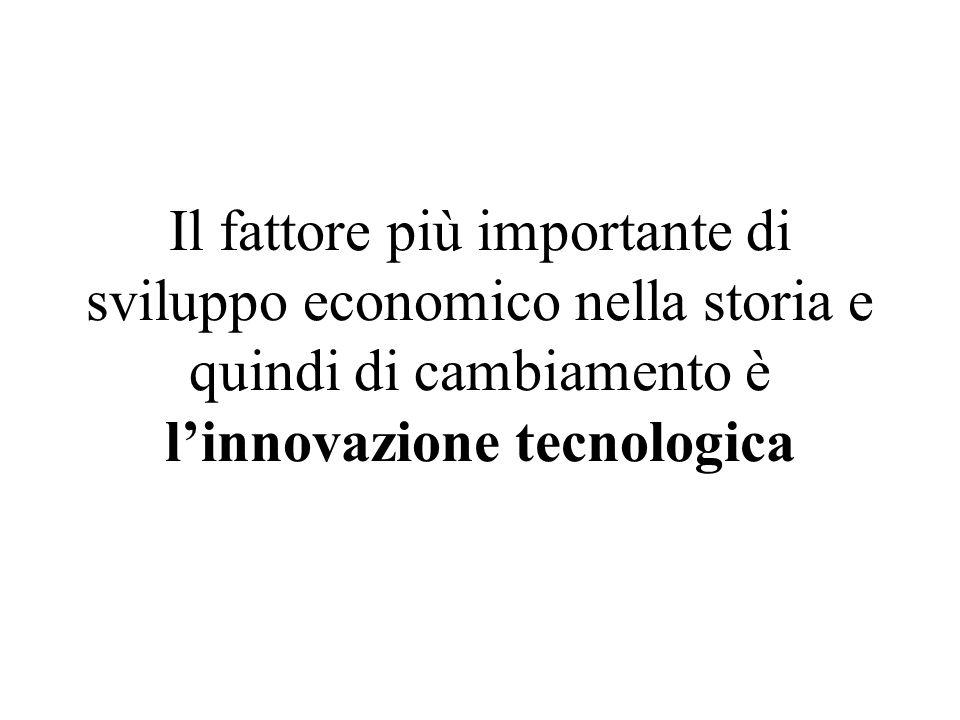 Il fattore più importante di sviluppo economico nella storia e quindi di cambiamento è linnovazione tecnologica