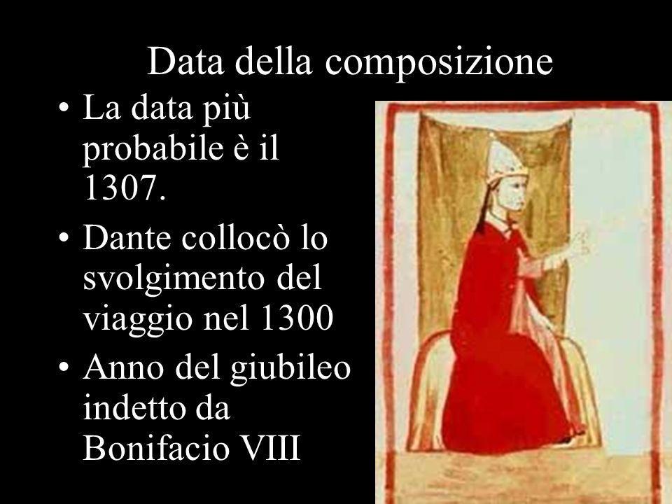 Data della composizione La data più probabile è il 1307. Dante collocò lo svolgimento del viaggio nel 1300 Anno del giubileo indetto da Bonifacio VIII