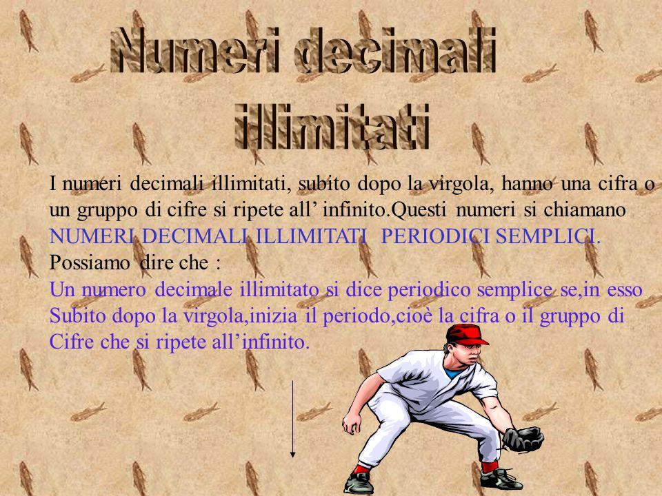 I numeri decimali illimitati, subito dopo la virgola, hanno una cifra o un gruppo di cifre si ripete all infinito.Questi numeri si chiamano NUMERI DECIMALI ILLIMITATI PERIODICI SEMPLICI.