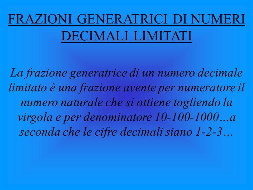FRAZIONI GENERATRICI DI NUMERI DECIMALI LIMITATI La frazione generatrice di un numero decimale limitato è una frazione avente per numeratore il numero naturale che si ottiene togliendo la virgola e per denominatore 10-100-1000…a seconda che le cifre decimali siano 1-2-3…