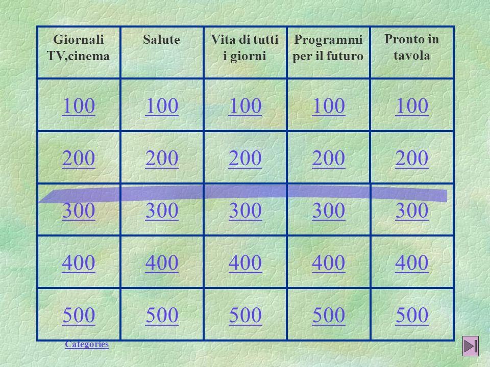 Categories 500 400 300 200 100 Pronto in tavola Programmi per il futuro Vita di tutti i giorni SaluteGiornali TV,cinema