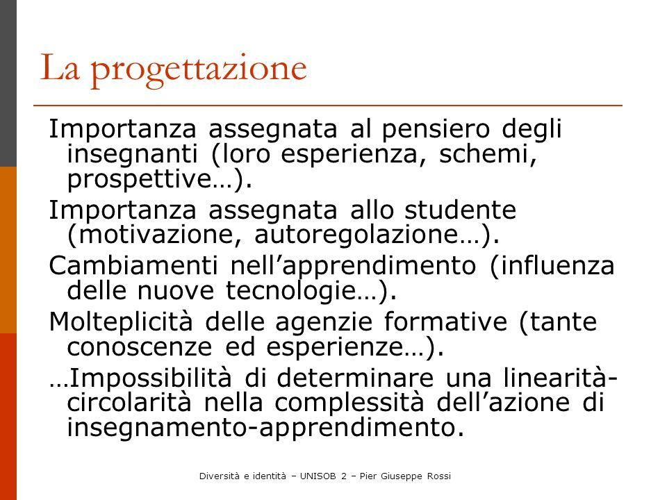 La progettazione Importanza assegnata al pensiero degli insegnanti (loro esperienza, schemi, prospettive…). Importanza assegnata allo studente (motiva