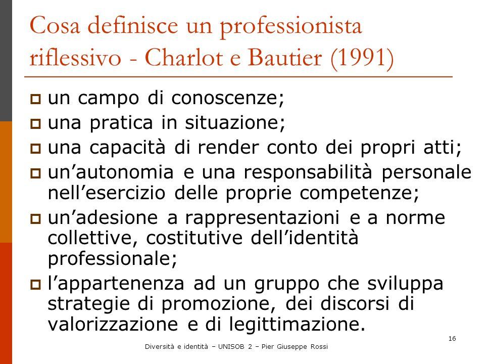 16 Cosa definisce un professionista riflessivo - Charlot e Bautier (1991) un campo di conoscenze; una pratica in situazione; una capacità di render co