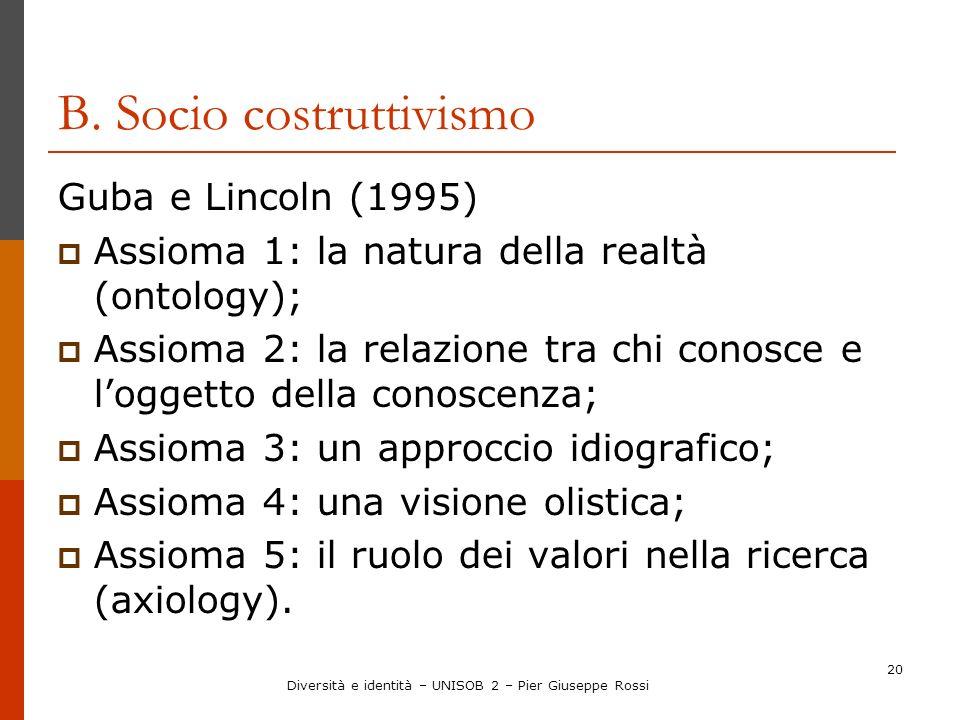 20 B. Socio costruttivismo Guba e Lincoln (1995) Assioma 1: la natura della realtà (ontology); Assioma 2: la relazione tra chi conosce e loggetto dell
