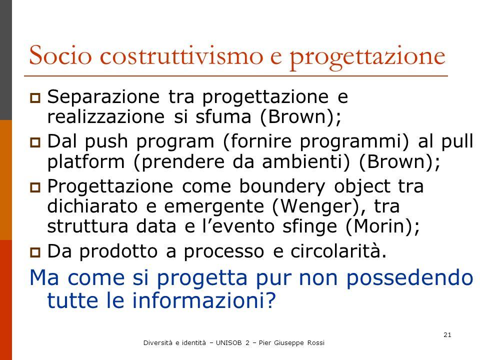 21 Socio costruttivismo e progettazione Separazione tra progettazione e realizzazione si sfuma (Brown); Dal push program (fornire programmi) al pull p
