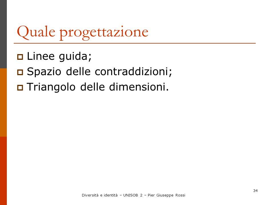 34 Quale progettazione Linee guida; Spazio delle contraddizioni; Triangolo delle dimensioni. Diversità e identità – UNISOB 2 – Pier Giuseppe Rossi