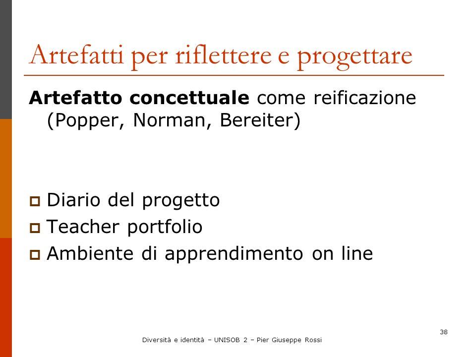 38 Artefatti per riflettere e progettare Artefatto concettuale come reificazione (Popper, Norman, Bereiter) Diario del progetto Teacher portfolio Ambi