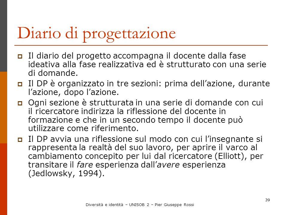 39 Diario di progettazione Il diario del progetto accompagna il docente dalla fase ideativa alla fase realizzativa ed è strutturato con una serie di d