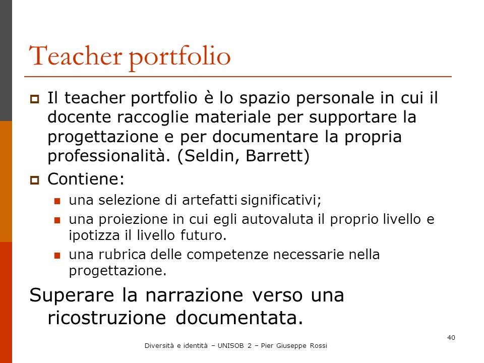 40 Teacher portfolio Il teacher portfolio è lo spazio personale in cui il docente raccoglie materiale per supportare la progettazione e per documentar