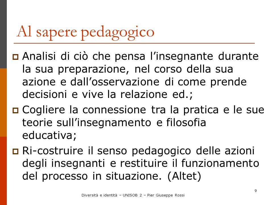 Diversità e identità – UNISOB 2 – Pier Giuseppe Rossi 9 Al sapere pedagogico Analisi di ciò che pensa linsegnante durante la sua preparazione, nel cor
