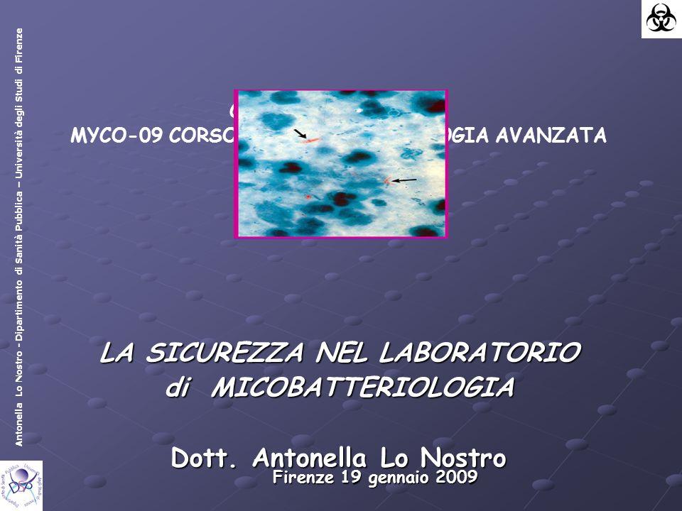 Antonella Lo Nostro - Dipartimento di Sanità Pubblica – Università degli Studi di Firenze Corso Nazionale AMCLI MYCO-09 CORSO di MICOBATTERIOLOGIA AVANZATA LA SICUREZZA NEL LABORATORIO di MICOBATTERIOLOGIA Dott.