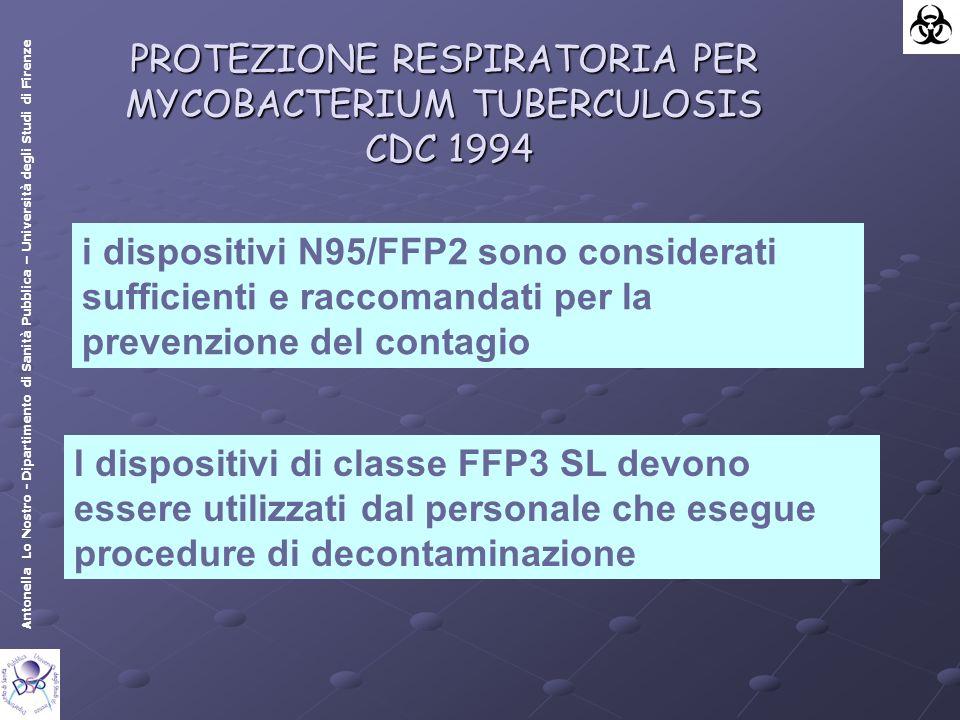 Antonella Lo Nostro - Dipartimento di Sanità Pubblica – Università degli Studi di Firenze i dispositivi N95/FFP2 sono considerati sufficienti e raccomandati per la prevenzione del contagio PROTEZIONE RESPIRATORIA PER MYCOBACTERIUM TUBERCULOSIS CDC 1994 I dispositivi di classe FFP3 SL devono essere utilizzati dal personale che esegue procedure di decontaminazione