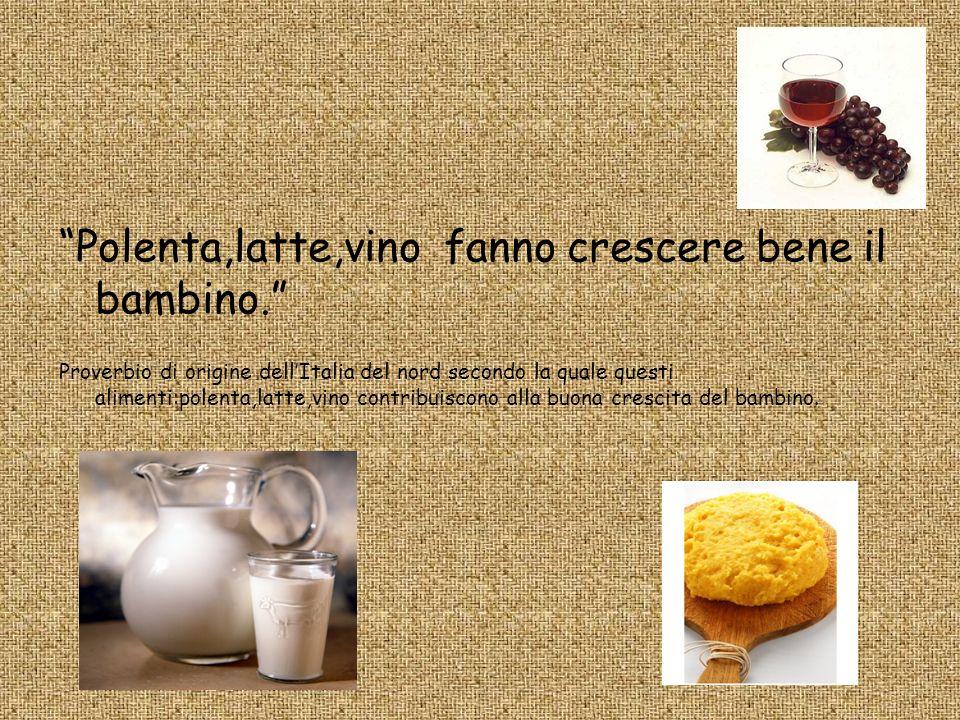 Polenta,latte,vino fanno crescere bene il bambino. Proverbio di origine dellItalia del nord secondo la quale questi alimenti:polenta,latte,vino contri