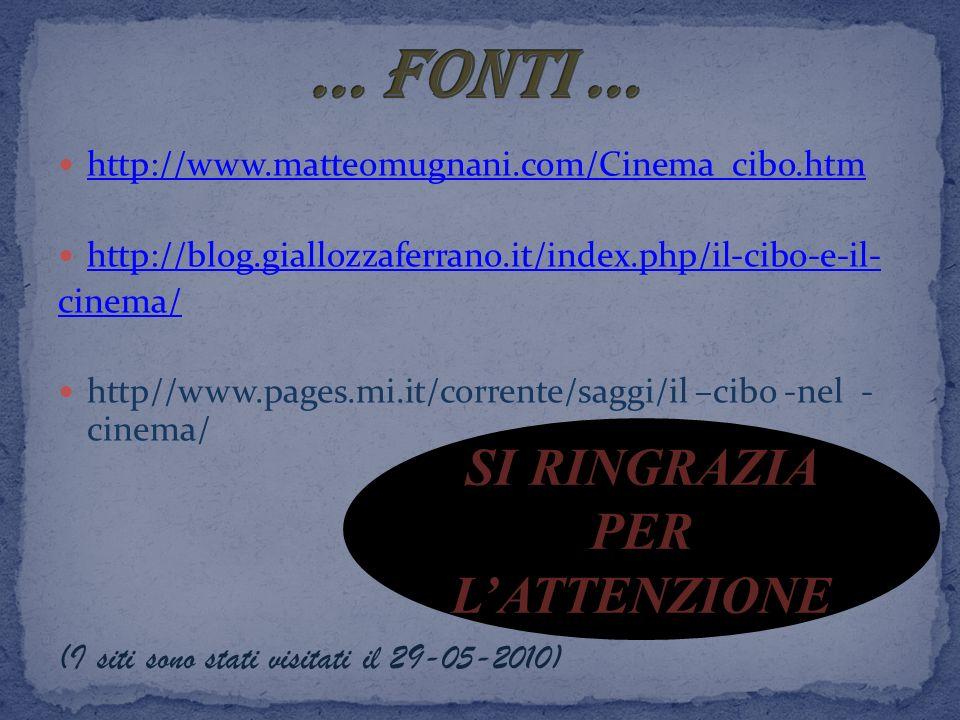 http://www.matteomugnani.com/Cinema_cibo.htm http://blog.giallozzaferrano.it/index.php/il-cibo-e-il- cinema/ http//www.pages.mi.it/corrente/saggi/il –