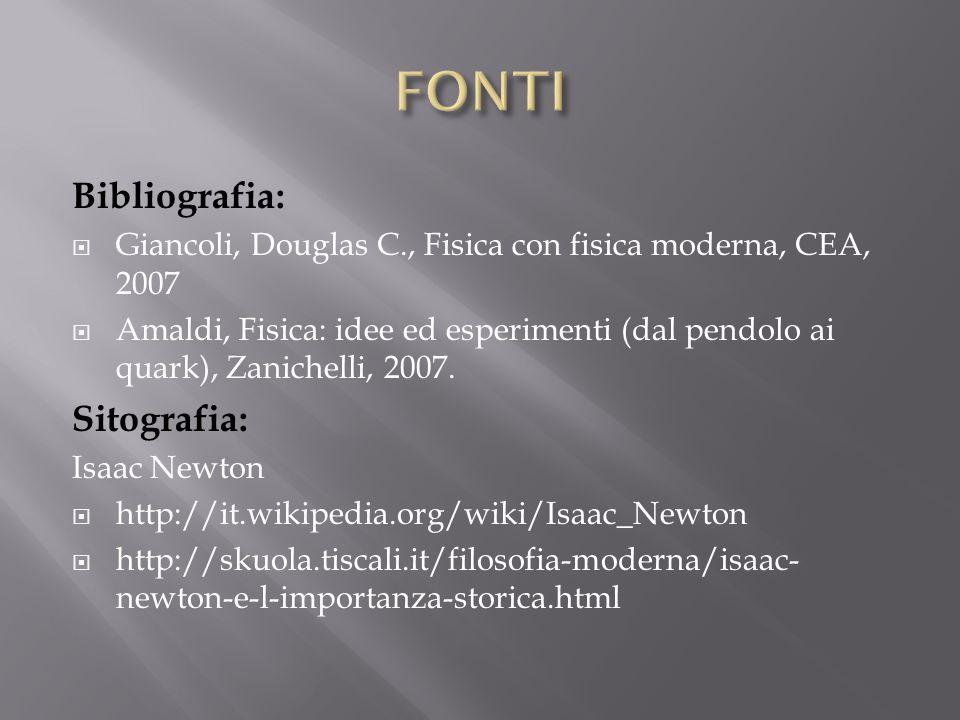 Bibliografia: Giancoli, Douglas C., Fisica con fisica moderna, CEA, 2007 Amaldi, Fisica: idee ed esperimenti (dal pendolo ai quark), Zanichelli, 2007.