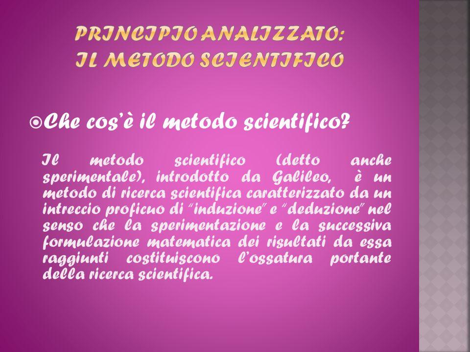 Che cosè il metodo scientifico? Il metodo scientifico (detto anche sperimentale), introdotto da Galileo, è un metodo di ricerca scientifica caratteriz