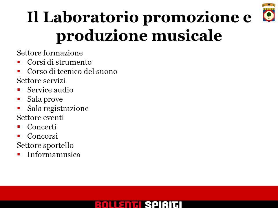 Il Laboratorio promozione e produzione musicale Settore formazione Corsi di strumento Corso di tecnico del suono Settore servizi Service audio Sala pr