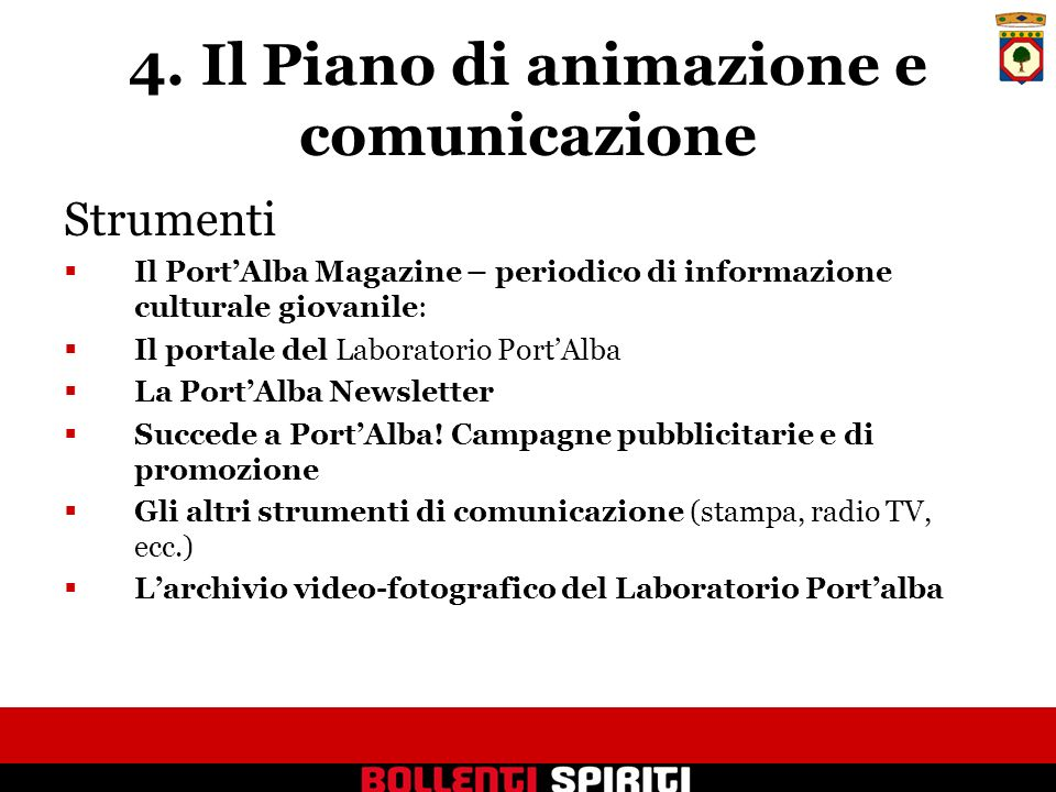 4. Il Piano di animazione e comunicazione Strumenti Il PortAlba Magazine – periodico di informazione culturale giovanile: Il portale del Laboratorio P