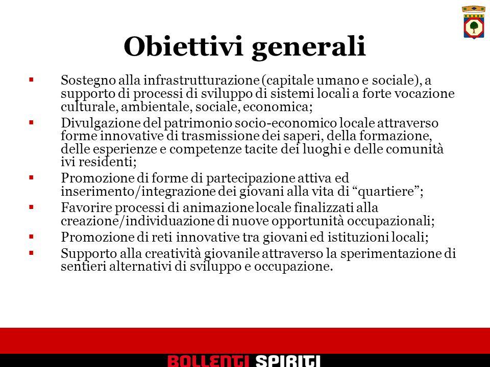 Obiettivi generali Sostegno alla infrastrutturazione (capitale umano e sociale), a supporto di processi di sviluppo di sistemi locali a forte vocazion