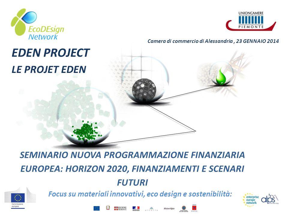 SEMINARIO NUOVA PROGRAMMAZIONE FINANZIARIA EUROPEA: HORIZON 2020, FINANZIAMENTI E SCENARI FUTURI Focus su materiali innovativi, eco design e sostenibi