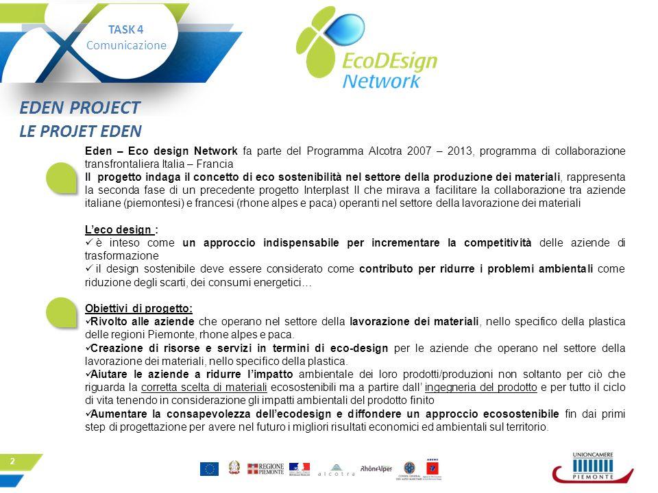 2 Eden – Eco design Network fa parte del Programma Alcotra 2007 – 2013, programma di collaborazione transfrontaliera Italia – Francia Il progetto inda