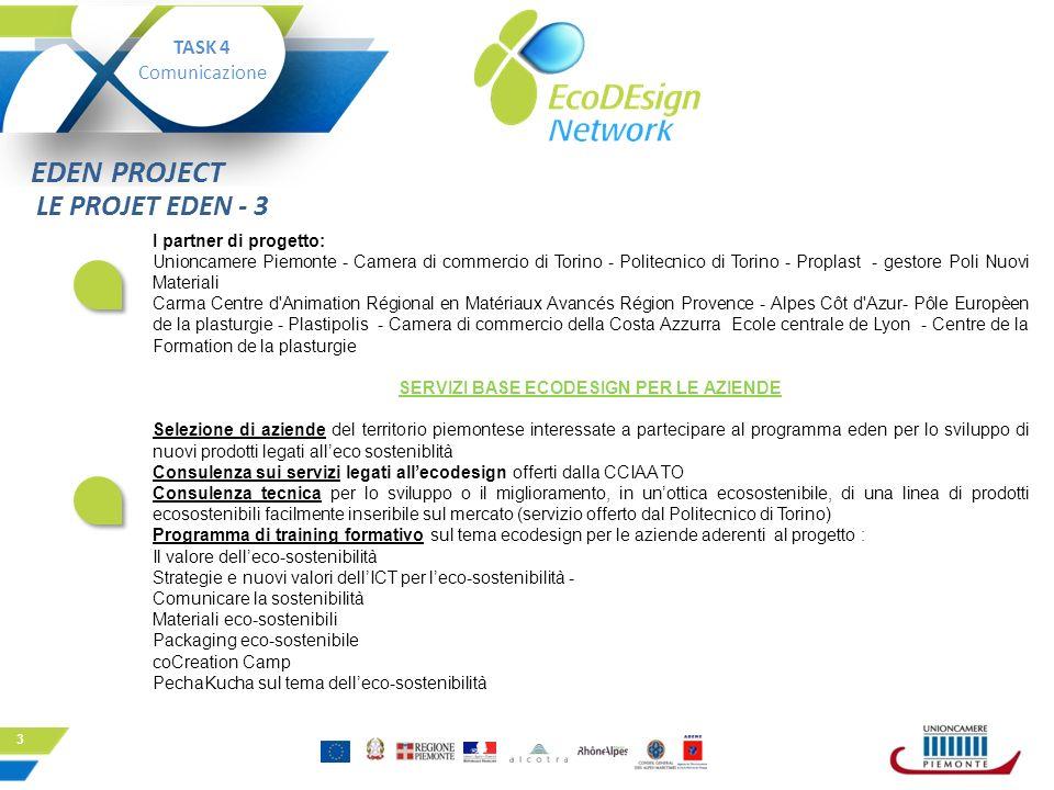 3 I partner di progetto: Unioncamere Piemonte - Camera di commercio di Torino - Politecnico di Torino - Proplast - gestore Poli Nuovi Materiali Carma