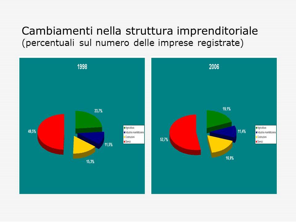 Cambiamenti nella struttura imprenditoriale (variazioni 1998-2006 nelle percentuali sul numero delle imprese registrate)