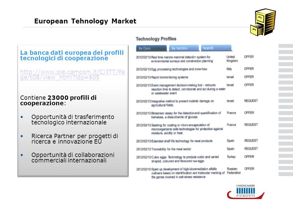 European Tehnology Market La banca dati europea dei profili tecnologici di cooperazione http://www.pie.camcom.it/C/ITT/Pa ge/t08/view_html idp=605 Contiene 23000 profili di cooperazione: Opportunità di trasferimento tecnologico internazionale Ricerca Partner per progetti di ricerca e innovazione EU Opportunità di collaborazioni commerciali internazionali La banca dati europea dei profili tecnologici di cooperazione http://www.pie.camcom.it/C/ITT/Pa ge/t08/view_html idp=605 Contiene 23000 profili di cooperazione: Opportunità di trasferimento tecnologico internazionale Ricerca Partner per progetti di ricerca e innovazione EU Opportunità di collaborazioni commerciali internazionali