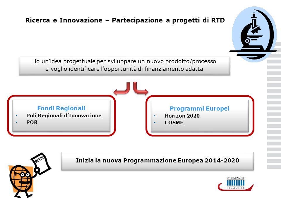 Ricerca e Innovazione – Partecipazione a progetti di RTD Ho unidea progettuale per sviluppare un nuovo prodotto/processo e voglio identificare lopportunità di finanziamento adatta Ho unidea progettuale per sviluppare un nuovo prodotto/processo e voglio identificare lopportunità di finanziamento adatta Fondi Regionali Poli Regionali dInnovazione POR Fondi Regionali Poli Regionali dInnovazione POR Programmi Europei Horizon 2020 COSME Programmi Europei Horizon 2020 COSME Inizia la nuova Programmazione Europea 2014-2020